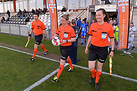 assistant referee Niels DHaene , referee Lois Otte taking the matchball and assistant referee Joline Delcroix pictured before a female soccer game between  AA Gent Ladies and Club Brugge YLA on the third matchday of play off 1 in the 2020 - 2021 season of Belgian Scooore Womens Super League , friday 23 th of April 2020  in Oostakker , Belgium . PHOTO SPORTPIX.BE   SPP   STIJN AUDOOREN