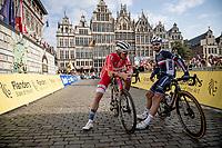 the 2 former World Champions Julian Alaphilippe (FRA/Deceuninck - Quick Step) & Mads Pedersen (DEN/Trek-Segafredo) at the start line in Antwerpen<br /> <br /> Elite Men World Championships - Road Race<br /> from Antwerp to Leuven (268.3km)<br /> <br /> UCI Road World Championships - Flanders Belgium 2021<br /> <br /> ©kramon