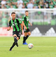 AUSTIN, TX - JUNE 19: Tomas Pochettino #7 of Austin FC passes the ball to a teammate during a game between San Jose Earthquakes and Austin FC at Q2 Stadium on June 19, 2021 in Austin, Texas.
