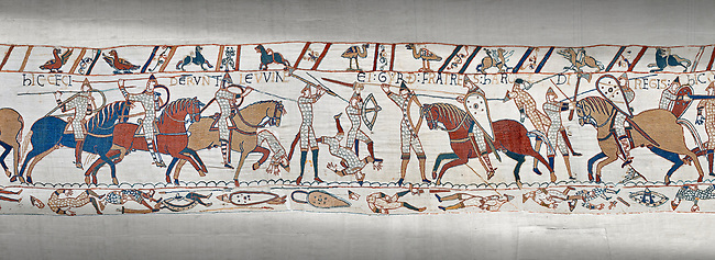 Bayeux Tapestry scene 52:  Harpld brother, Duke of Lewine and Byrd is killed in the Battle of Hastings.
