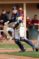 Georgia Tech Yellow Jackets catcher Mitch Earnest #29  during a game versus the Boston College Eagles at Shea Field on the campus of Boston College in Chestnut Hill, Massachusetts on March 24, 2012.  (Ken Babbitt/Four Seam Images)