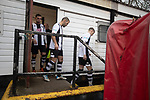 Atherton Collieries 1, Boston United 0, 23/11/19. Alder House, FA Trophy, third qualifying round. The home players coming out of their dressing room before Atherton Collieries played Boston United in the FA Trophy third qualifying round at the Skuna Stadium. The home club were formed in 1916 and having secured three promotions in five season played in the Northern Premier League premier division. This was the furthest they had progressed in the FA Trophy and defeated their rivals from the National League North by 1-0, Mike Brewster scoring a late winner watched by a crowd of 303 spectators. Photo by Colin McPherson.