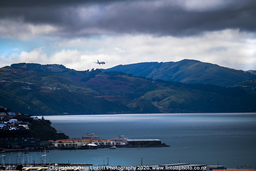 An Air New Zealand flight arrives in Wellington during quarantine lockdown for COVID19 pandemic in Wellington, New Zealand on Sunday, 29 March 2020. Photo: Dave Lintott / lintottphoto.co.nz
