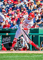 9 July 2017: Washington Nationals infielder Wilmer Difo singles in the 6th inning against the Atlanta Braves at Nationals Park in Washington, DC. The Nationals defeated the Atlanta Braves to split their 4-game series. Mandatory Credit: Ed Wolfstein Photo *** RAW (NEF) Image File Available ***