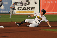 Burlington Bees second baseman Jordan Zimmerman (12) slides into second base during a game against the West Michigan Whitecaps at Community Field on May 11, 2017 in Burlington, Iowa.  The Whitecaps won 10-3.  (Dennis Hubbard/Four Seam Images)