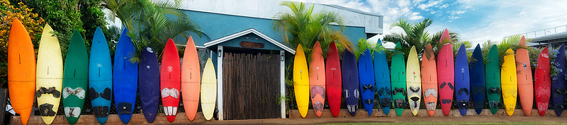 Surfboard fence in Paia, Maui Hawaii