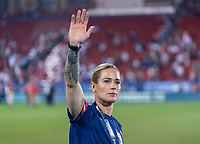 FRISCO, TX - MARCH 11: Ashlyn Harris #18 of the United States waves to the crowd during a game between Japan and USWNT at Toyota Stadium on March 11, 2020 in Frisco, Texas.