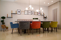 Living and dining modern colourful decor. Architecture and interior design and furnishing.