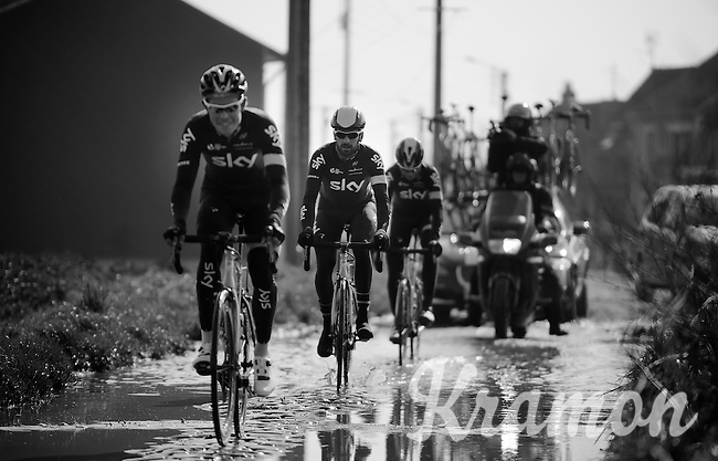 Sir Bradley Wiggins (GBR/Sky)passes through a soaked Haveluy (to Wallers) sector <br /> <br /> 2015 Paris-Roubaix recon with Team SKY