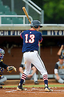Evan Stephens #13 (Wake Forest) of the High Point-Thomasville HiToms at bat against the Wilson Tobs at Finch Field on June 17, 2013 in Thomasville, North Carolina.  The Tobs defeated the HiToms 3-2 in 11 innings.  Brian Westerholt/Four Seam Images