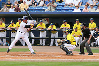 March 21, 2010:  Catcher Chris Berset (10) of the Michigan Wolverines in the field as Chris Carter (23) of the NY Mets hits during a game at Tradition Field in St. Lucie, FL.  Photo By Mike Janes/Four Seam Images