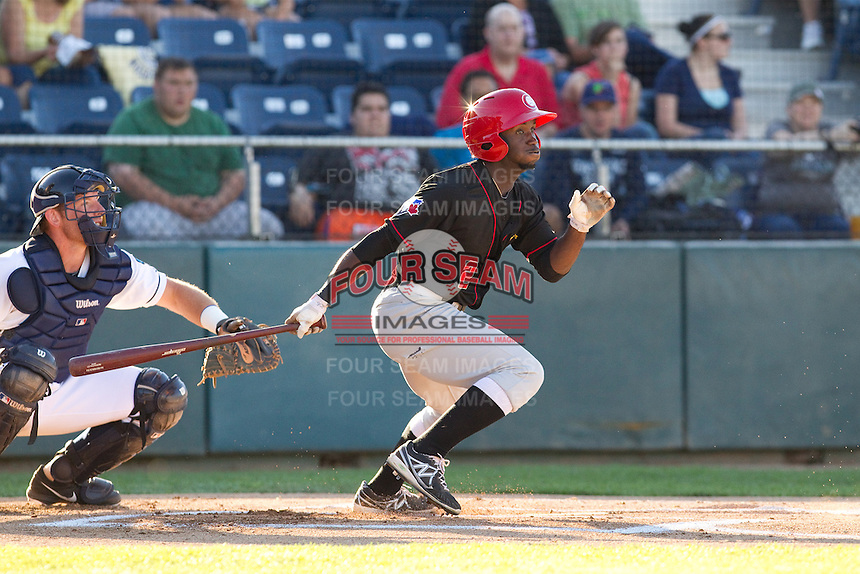 Roemon Fields #2 of the Vancouver Canadians at bat during a game against the Everett AquaSox at Everett Memorial Stadium in Everett, Washington on July 9, 2014.  Everett defeated Vancouver 9-4.  (Ronnie Allen/Four Seam Images)