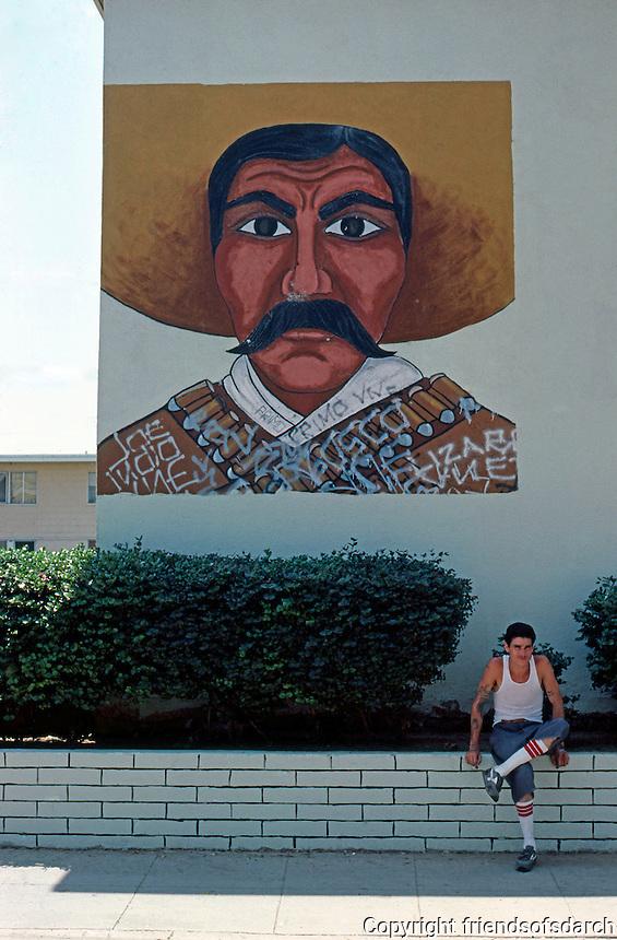Los Angeles: Zapata Mural, Estrada Court, Boyle Heights.  Photo '85.