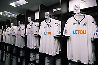 Pictured: Saturday 01 July 2017<br />Re: The new 2017-2018 season, Swansea City FC kit has officially gone on sale at the club's Liberty Stadium shop, Wales, UK