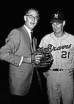 """Pittsburgh PA:  Warren Spahn talking with Pittsburgh Pirate announcer, Bob """"the Gunner"""" Prince at the HYPO charity baseball game with the Milwaukee Braves. The money raised by HYPO (Help Young Players Organize) was used to help local communities buy equipment and build ball fields"""