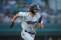 Jameson Fisher (11) of the Winston-Salem Dash hustles down the first base line against the Down East Wood Ducks at Grainger Stadium Field on May 17, 2019 in Kinston, North Carolina. The Dash defeated the Wood Ducks 8-2. (Brian Westerholt/Four Seam Images)