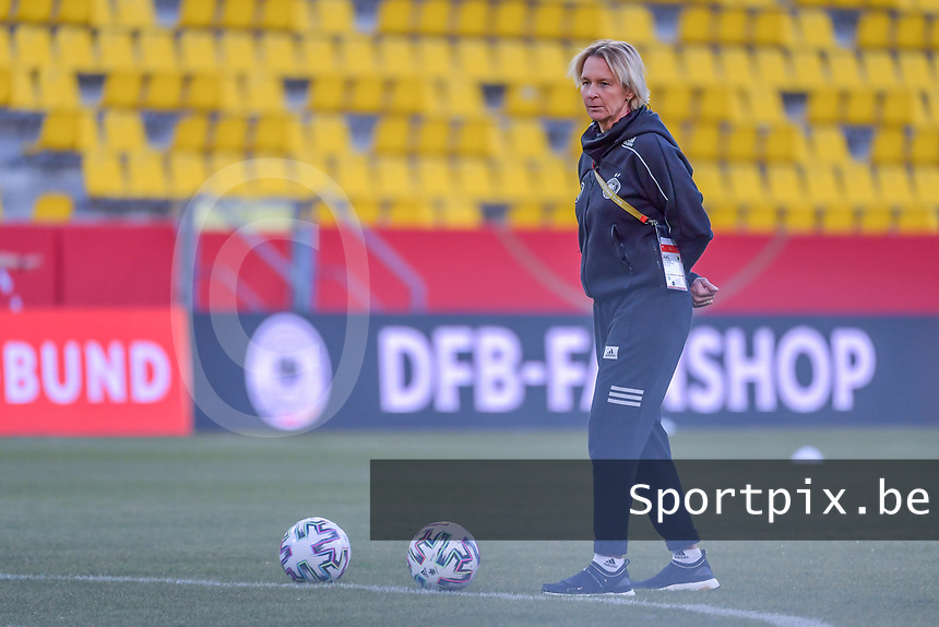 German head coach Martina Voss-Tecklenburg pictured during a friendly female soccer game between the national teams of Germany and  Belgium , called the Red Flames  in a pre - bid tournament called Three Nations One Goal with the national teams from Belgium , The Netherlands and Germany towards a bid for the hosting of the 2027 FIFA Women's World Cup , on Sunday 21 st of February 2021  in Aachen , Germany . PHOTO SPORTPIX.BE | SPP | STIJN AUDOOREN