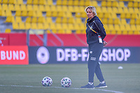 German head coach Martina Voss-Tecklenburg pictured during a friendly female soccer game between the national teams of Germany and  Belgium , called the Red Flames  in a pre - bid tournament called Three Nations One Goal with the national teams from Belgium , The Netherlands and Germany towards a bid for the hosting of the 2027 FIFA Women's World Cup , on Sunday 21 st of February 2021  in Aachen , Germany . PHOTO SPORTPIX.BE   SPP   STIJN AUDOOREN