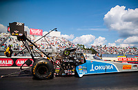 Sep 26, 2020; Gainesville, Florida, USA; NHRA top fuel driver Tony Schumacher during qualifying for the Gatornationals at Gainesville Raceway. Mandatory Credit: Mark J. Rebilas-USA TODAY Sports