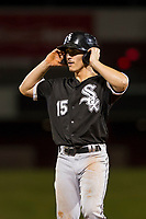 AZL White Sox right fielder JJ Muno (15) stands on first base during the game against the AZL Cubs on August 13, 2017 at Sloan Park in Mesa, Arizona. AZL White Sox defeated the AZL Cubs 7-4. (Zachary Lucy/Four Seam Images)