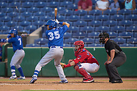 Dunedin Blue Jays Glenn Santiago (35) bats in front of catcher Juan Aparicio (44) and umpire Chandler Durham during a game against the Clearwater Threshers on May 20, 2021 at BayCare Ballpark in Clearwater, Florida.  (Mike Janes/Four Seam Images)