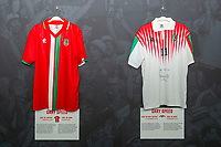Garry Speeds' 1996/98 Wales home and away shirts is displayed at The Art of the Wales Shirt Exhibition at St Fagans National Museum of History in Cardiff, Wales, UK. Monday 11 November 2019