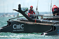 25 July 2015: Sir Ben Ainslie, skipper Land Rover BAR, after winning the first race during the America's Cup first round racing off Portsmouth, England (Photo by Rob Munro)