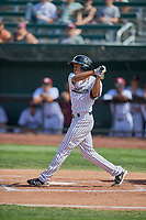 Tyler James (2) of the Idaho Falls Chukars at bat against the Orem Owlz at Melaleuca Field on July 14, 2019 in Idaho Falls, Idaho. The Owlz defeated the Chukars 6-2. (Stephen Smith/Four Seam Images)