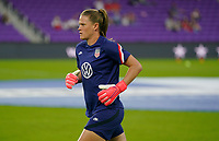 ORLANDO CITY, FL - FEBRUARY 18: Alyssa Naeher #1 of the United States warming up during a game between Canada and USWNT at Exploria Stadium on February 18, 2021 in Orlando City, Florida.