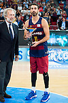 FC Barcelona Lassa captain Juan Carlos Navarro with the 2nd position award during the final of Supercopa of Liga Endesa Madrid. September 24, Spain. 2016. (ALTERPHOTOS/BorjaB.Hojas)