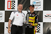 HPD President Ted Klaus, Sebastien Bourdais, Dale Coyne Racing with Vasser-Sullivan Honda, podium