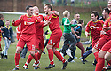 Albion Rovers players celebrates winning the Second Division Play Offs after Ciaran Donnelly (5) scores the winning penalty ....