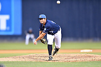 Asheville Tourists pitcher Will Tribucher (38) delivers a pitch during a game against the Rome Braves at McCormick Field on July 18, 2019 in Asheville, North Carolina. The Tourists defeated the Braves 4-3. (Tony Farlow/Four Seam Images)
