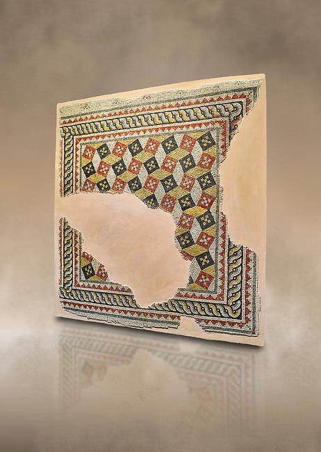 Roman mosaics - Geometric mosaic with 3d illusion. House of Oceanos, Ancient Zeugama, 2nd - 3rd century AD . Zeugma Mosaic Museum, Gaziantep, Turkey.   Against an art background.