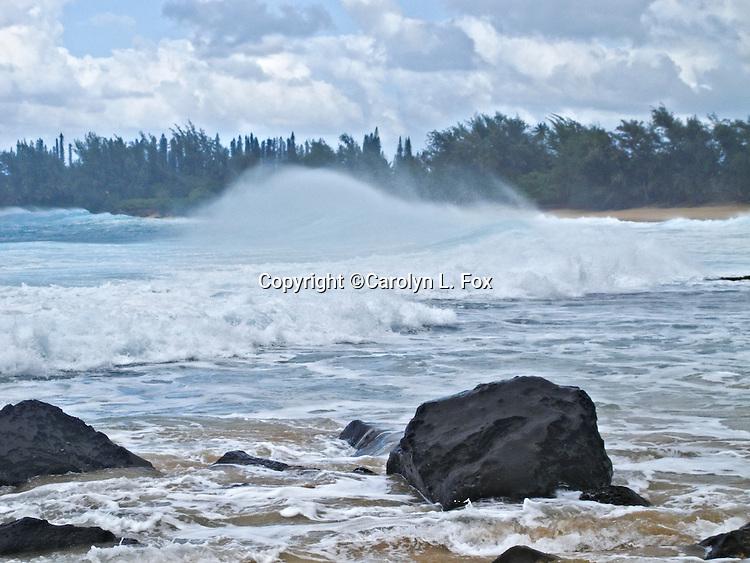 Waves head towards a beach in Hawaii.