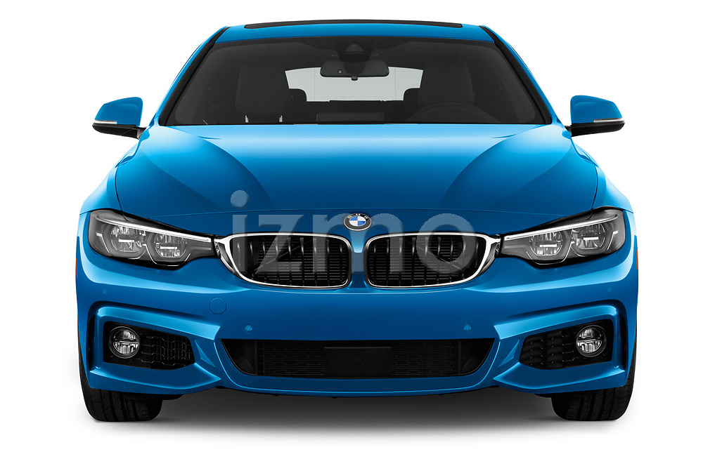 Car photography straight front view of a 2018 BMW 4 Series Gran Coupe 440i M Sport 5 Door Hatchback