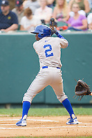 D.J. Burt (2) of the Burlington Royals at bat against the Pulaski Mariners at Calfee Park on June 20, 2014 in Pulaski, Virginia.  The Mariners defeated the Royals 6-4. (Brian Westerholt/Four Seam Images)