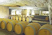 Oak barrel aging and fermentation cellar. An old quarry. Chateau Clos Fourtet, Saint Emilion, Bordeaux, France