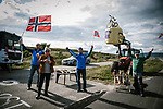 Local fans wait at the roadside for the race during Stage 1 of the 2018 Artic Race of Norway, running 184km from Vadso to Kirkenes, Norway. 16th August 2018. <br /> <br /> Picture: ASO/Pauline Ballet | Cyclefile<br /> All photos usage must carry mandatory copyright credit (© Cyclefile | ASO/Pauline Ballet)