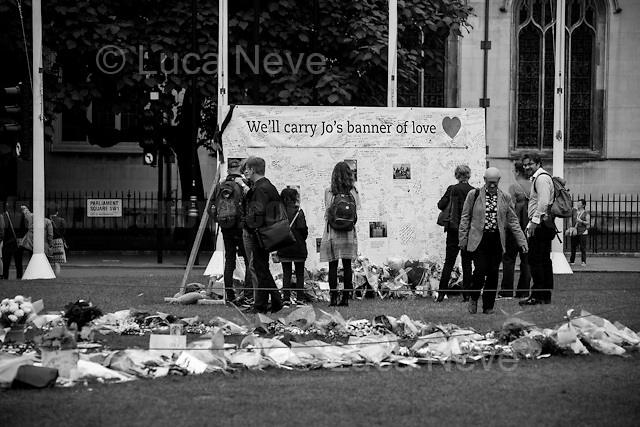 Memorial for Jo Cox MP in London's Parliament Square (Jo Cox was a Labour Member of Parliament who was brutally killed by the far-right extremist Thomas Mair on the 16th of June 2016).<br />