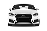 Car photography straight front view of a 2017 Audi A3 S-Line 4 Door Sedan Front View