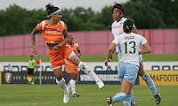 Natasha Kai (6) of Sky Blue watches her header go wide of the net.  Sky Blue defeated the Chicago Red Stars 1-0 in a midweek game at Yurcak Field.