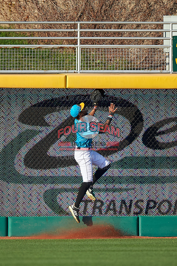 Lansing Lugnuts right fielder DJ Neal (7) attempts to rob a home run during a Midwest League game against the Beloit Snappers at Cooley Law School Stadium on May 4, 2019 in Lansing, Michigan. The Lugnuts wore their Copa de la Diversión jerseys, becoming the Lansing Locos for the evening. Beloit defeated Lansing 2-1. (Zachary Lucy/Four Seam Images)
