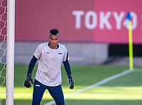 KASHIMA, JAPAN - AUGUST 5: Adrianna Franch #18 of the USWNT warms up before a game between Australia and USWNT at Kashima Soccer Stadium on August 5, 2021 in Kashima, Japan.