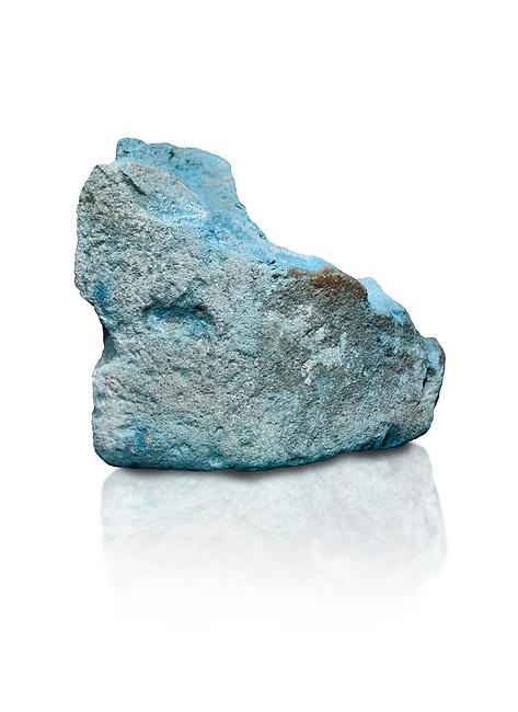 Ancient Egyptian fragment of blue pigment,  19-20th Dynasty (1292-1076 BC, Deir el-Medina. Egyptian Museum, Turin. Schiaparelli Cat 9929. White background,