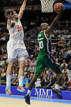 Real Madrid´s Sergio Llull and Unicaja´s Will Thomas during 2014-15 Liga Endesa match between Real Madrid and Unicaja at Palacio de los Deportes stadium in Madrid, Spain. April 30, 2015. (ALTERPHOTOS/Luis Fernandez)