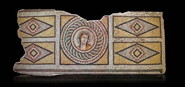 Roman mosaics - Dionysus Portrait Mosaic. Okeanos Villa, Ancient Zeugama, 2nd - 3rd century AD . Zeugma Mosaic Museum, Gaziantep, Turkey.   Against a black background.
