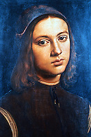 Paintings:  Perugino--Portrait of a Young Man.  Galleria Uffizi, Florence.  Reference only.