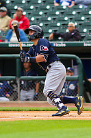 San Antonio Missions outfielder Nate Orf (6) launches a leadoff home run during a Pacific Coast League game against the Iowa Cubs on May 2, 2019 at Principal Park in Des Moines, Iowa. Iowa defeated San Antonio 8-6. (Brad Krause/Four Seam Images)