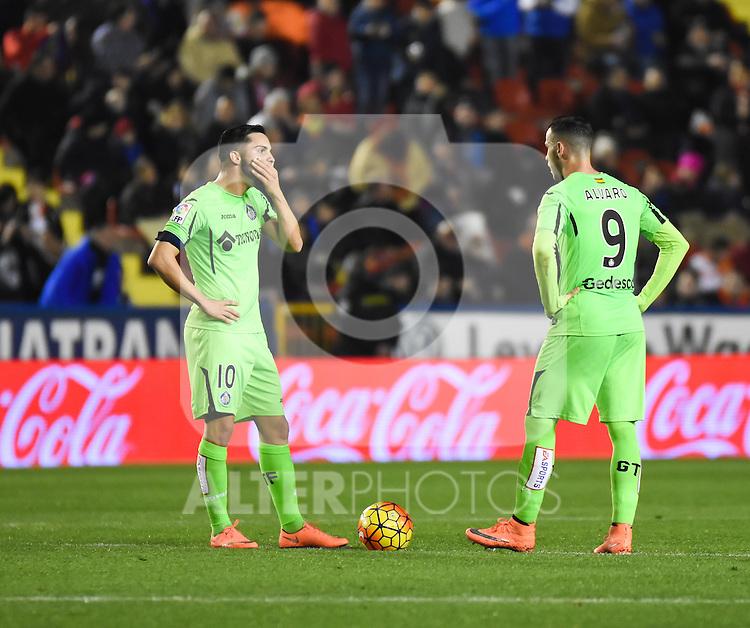 Getafe's Pablo Sarabia and Alvaro Vazquez  during La Liga match. February 19, 2016. (ALTERPHOTOS/Javier Comos)
